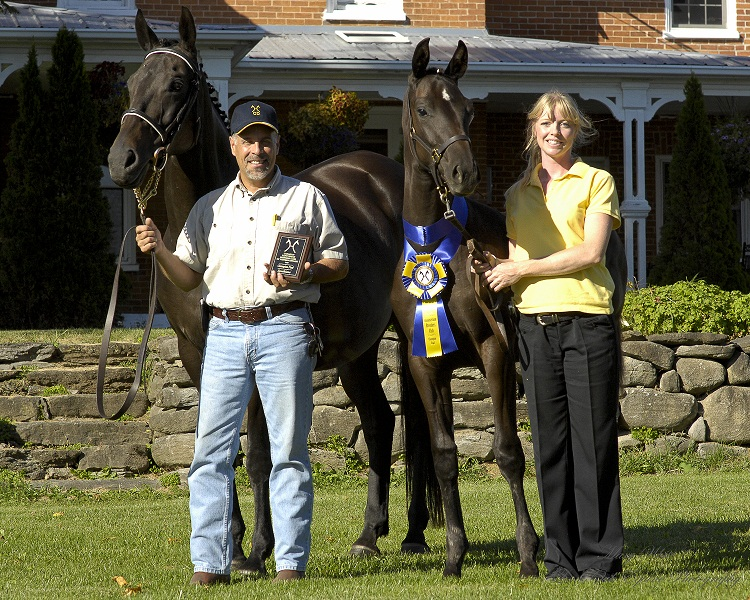 Rob and Lea at the 2009 Hanoverian Inspection seen here with our mare Laura and her De Niro Filly Detyana.  Detyana won top filly and top foal overall in 2009. Photo credit thanks to: Mary White